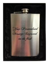 ENGRAVED PERSONALISED HIP FLASK 8oz in gift box