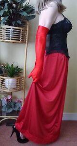 Lipstick Red Silky & Lacy Long Formal Length Half Slip Petticoat M- L-XL BNWT
