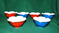 6 Porcelain Petal Leaf Bowls Red and Blue Bowl