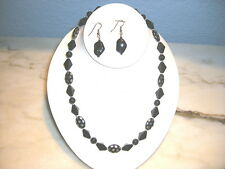 Black,silver and clear glass necklace set