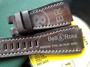 24mm handmade, leather watch strap, army, Bell & Ross logo, Brown - grey