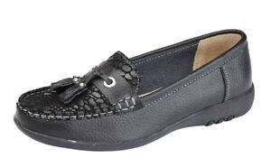 Womens Ladies Wide EEE Fit Black Leather Slip On Loafers Shoes 3 4 5 6 7 8 9