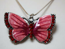Large Handmade Enamel Butterfly Necklace Pink Red Crystals