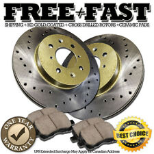 J0253 FIT 2002 2003 2004 2005 Toyota Echo FRONT Drilled Rotors Ceramic Pads GOLD