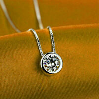 "2.00Ct Round Diamond Solitaire Bezel Pendant Necklace W/ 18"" 14k White Gold Over"
