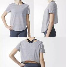 Adidas Ultimate Tie Tee in Medium Grey Heather Women's Size Medium