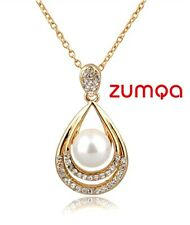 Ocean Pearl Teardrop Studded Necklace by ZUMQA