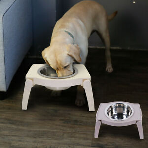 Raised Dog Bowls Elevated Double Bowl Feeding Station for Small Medium Dogs Gray
