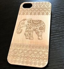 iPhone 6 / 6S & 7 & 8 - Hard Armor Case Cover Bamboo Wood Brown Tribal Elephant
