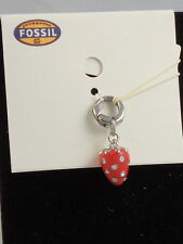 Fossil Brand Stainless Steel Red Enamel Strawberry Bracelet Charm JF00345 $24