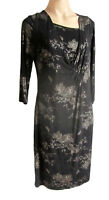 Ladies UK Size 16 Black / Gold Floral Dress By First Avenue 3/4 sleeves, Viscose