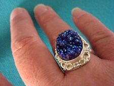 Blue Titanium Druzy In Silver Overlay Setting UK T, US 9.50 (rg2761)