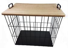 Beistelltisch eckig - Metall Korb + Holz Deckel - Deko Couch Tisch Sofatisch