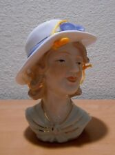 Lady Head Vase Has Holes in Hat for Hanging Blue Bow on Hat
