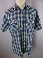 Wrangler X-Long Tails Plaid SS Pearl Snap Western Cowboy Rodeo Shirt Men's XL