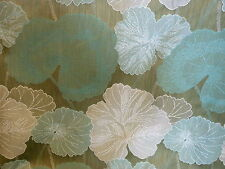 IVORY GREEN FLORAL LILY PAD TAPESTRY UPHOLSTERY FABRIC