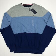 NEW Men's Tommy Hilfiger Crew Neck Sweater Color Block Cotton Small Blue Gray