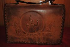 HAND MADE ANTIQUE LEATHER HANDBAG MADE IN INDIAN IN WW2