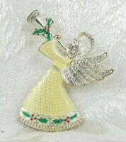 "Christmas Angel Brooch Pin 2.5"" Holly Yellow Enamel Rhinestones Silver"