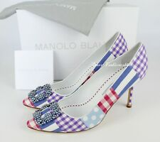 NEW MANOLO BLAHNIK Limited Edition Hangisi Patch Embellished Pumps