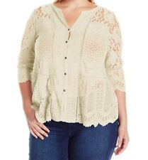 Lucky Brand Womens Small Ivory Lace Mix Top Buttons