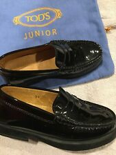 TOD'S Junior Black Patent Leather Loafers Flats Shoes Size 27 Italy