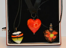 Lot of 3 Art Glass Heart Pendant Necklaces _ Heart with Flowers _ Red & Yellow