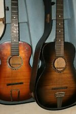 Two Vintage 1930's Harmony Parlour Guitars Gold & Silver 1936 Berlin Olympics