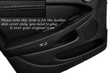 BLACK STITCH 2X FRONT DOOR ARMREST SKIN COVERS FITS JAGUAR X TYPE 01-09