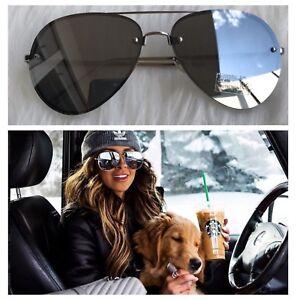 AYZA Damen Sonnenbrille 100% UV 400 Blaze Pilotenbrille Metal Silber Verspiegelt