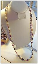 Genuine Tourmaline Gemstone and Cultured Pearl Necklace Gold Endless 26 inch