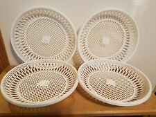 Vintage Paper Plate Holders Plastic 4 White Picnic Camping Bbq