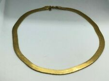 Vintage Monet Gold Plate Herringbone Chain Necklace 18""