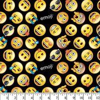 "Classic Yellow Emoji on Black 100% Cotton Fabric Remnant 33"""