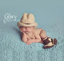 Newborn Baby Cowboy Crochet Knit Costume Photo Photography Prop Outfits