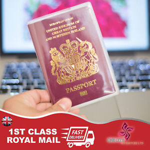 UK and European clear Passport Holder Protector Cover Wallet PU United Kingdom