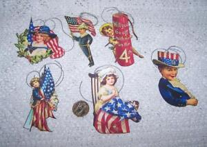 6~Vintage~4th of July~Patriotic~Glitter~Fussy Cut~Linen Cardstock~Gift~Hang~Tags