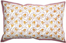 Cotton Floral Hand Block Sham Pillow/Cushion Cover Throw Bed Pillow Decorative