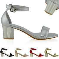 Womens Low Heel Sandals Ladies Ankle Strap Peep Toe Evening Party Shoes Size 3-8