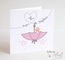 BABY SHOWER Card For Baby Girl - New Baby - Pregnancy Cute Pink