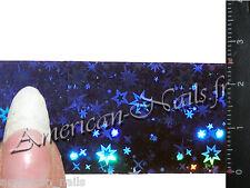 Rouleau Foils Nail Art Foil déco d'ongles Bleu Nuit Etoiles Holographique 150 cm