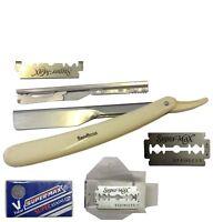 Cut Throat Shaving Razor Straight Disposable Mens Grooming Razors +10 Blade dr25