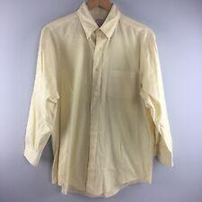 Brooks Brothers Oxford Shirt 16 2 Yellow Stripe Dress Button Down Mens Cotton