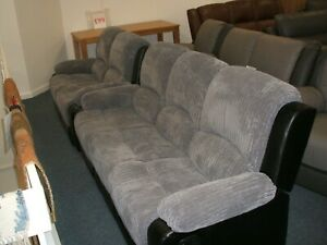 Montana manual reclining 3 and 2 seater sofa set in Grey cord