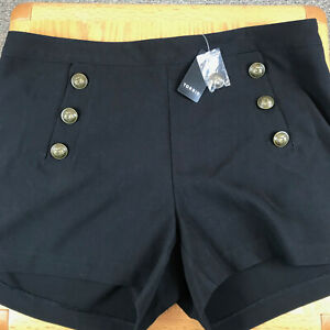 Torrid Black High-Rise Nautical Button Front Shorts Side Zipper Size 18 NEW