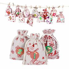 50 Hessian Drawstring Gift Bag Fabric Linen Christmas Tree Pouch Wedding Favours