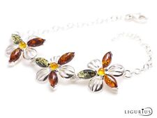 NATURAL BALTIC AMBER Gemstone Jewellery STERLING SILVER 925 BRACELET Adjustable