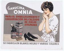 shoe polish advertising poster sign Gamucina Omnia woman shoes calzados pieles