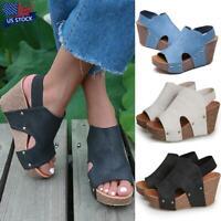 Women Wedge Heels Platform Sandals Ladies Summer Ankle Strap Peep Toe Shoes Size
