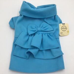 BOND & Co. Princes Blue Bowed Coat Jacket for Dogs  NWT